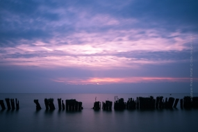 Sunset at the Markermeer. A lake in North-Holland photographed with a slow shutterspeed using a Lee Big stopper filter to get this result